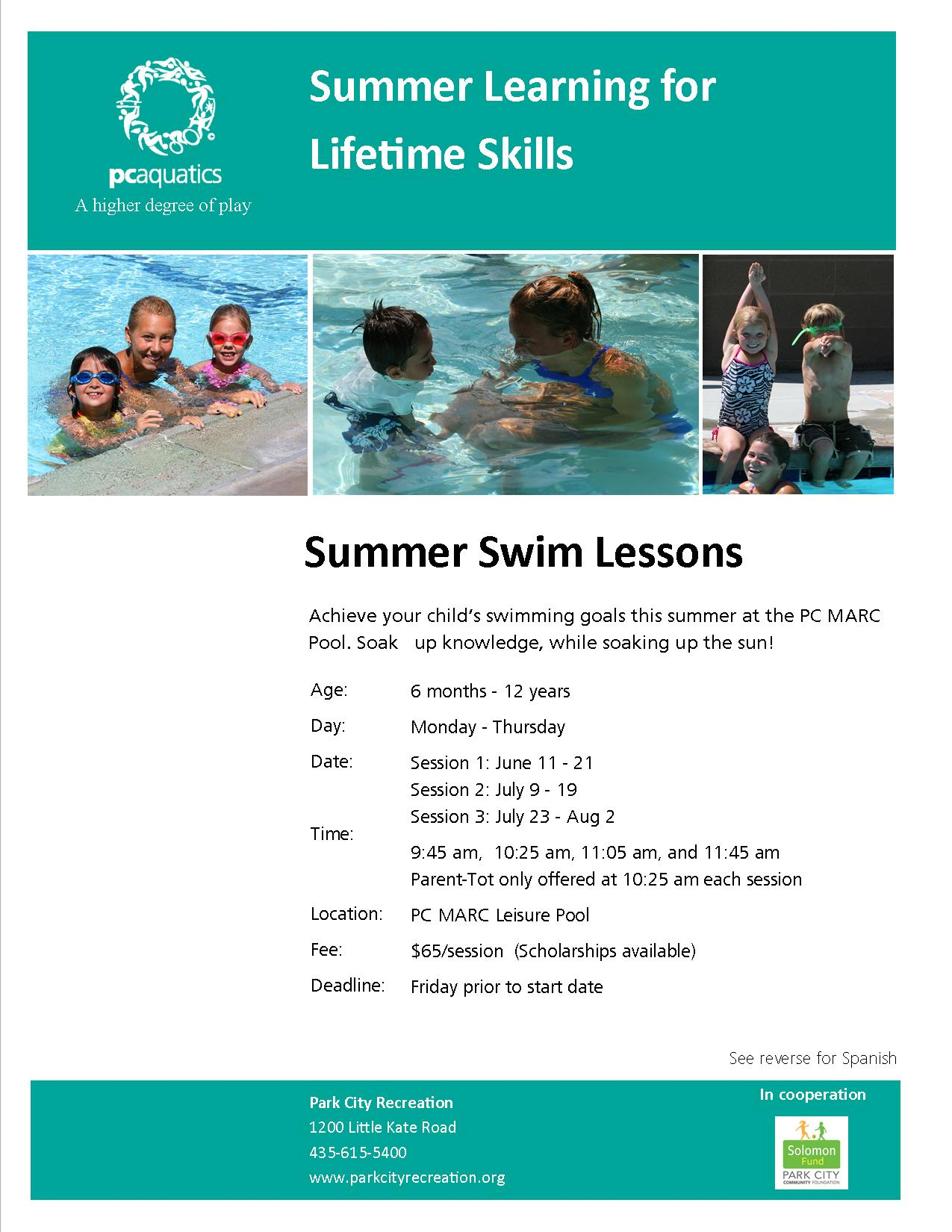 Summer Swim Lessons 2018 flyer