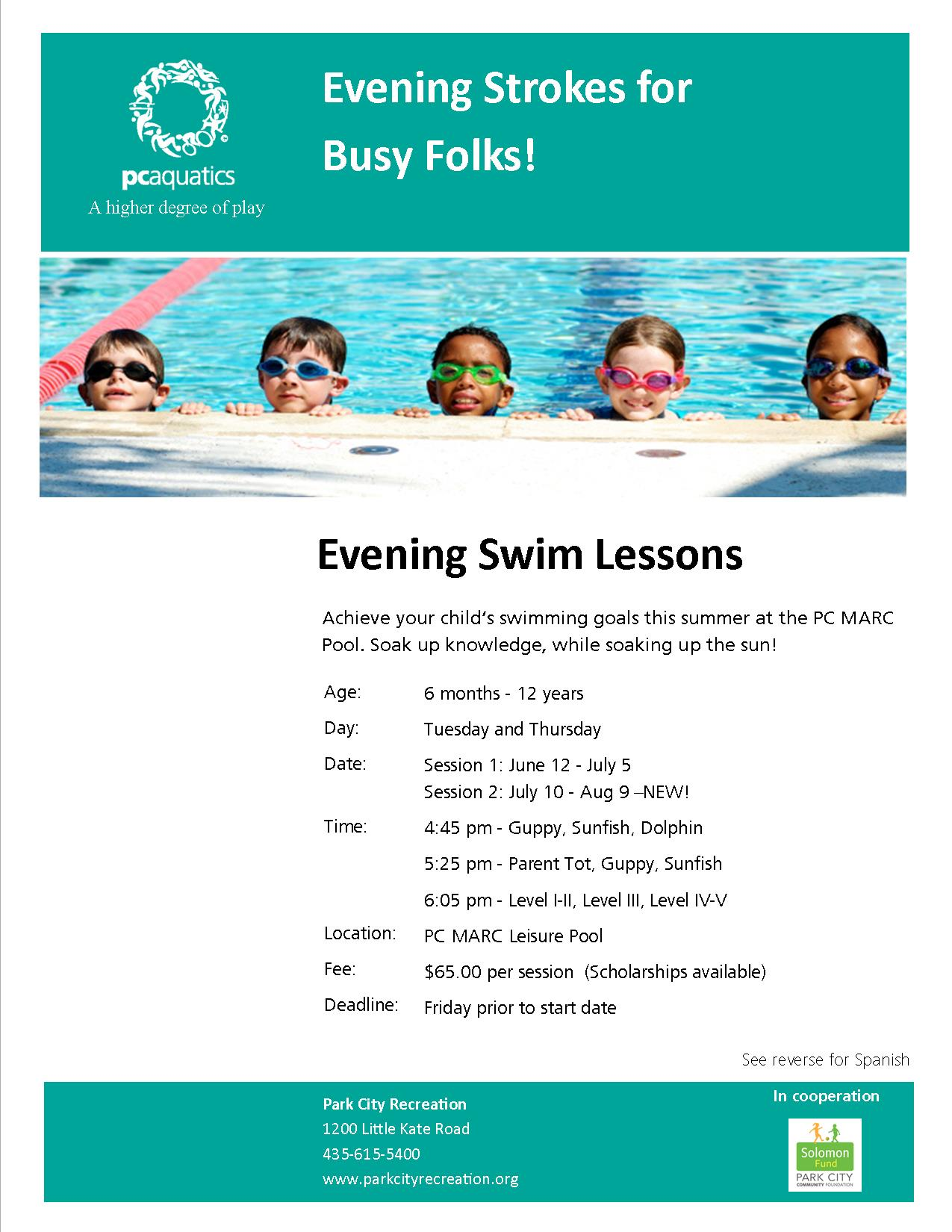 Evening Swim Lessons 2018 flyer