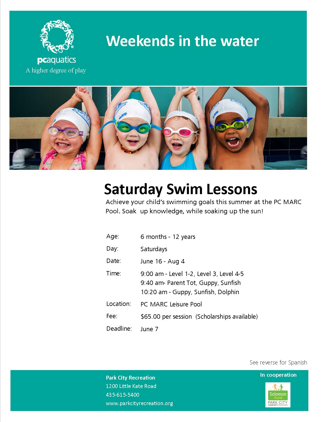 Saturday Swim Lessons 2018 flyer